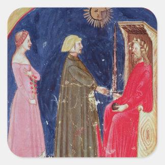 Dante et Béatrice avant Justinian Autocollants Carrés