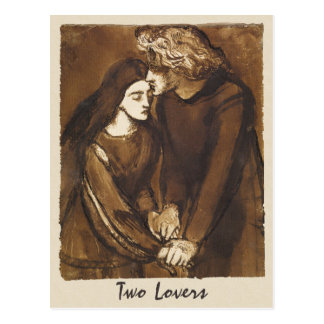 Dante Gabriel Rossetti deux amants 1850 Cartes Postales