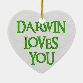 Darwin vous aime ornement cœur en céramique