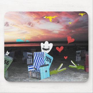 Date de crocs de coucher du soleil d'île de lomogr tapis de souris