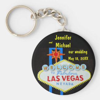 Date de mariage de Las Vegas Porte-clé Rond