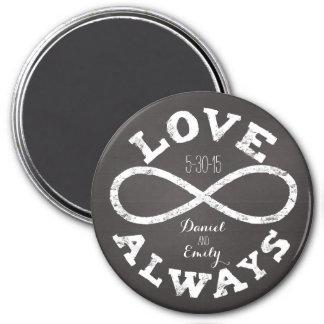 Date de mariage et noms d'amour d'infini de magnet rond 7,50 cm