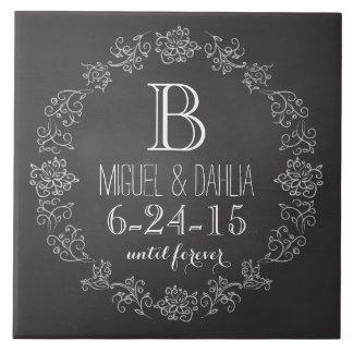 Date de mariage personnalisée de monogramme de grand carreau carré