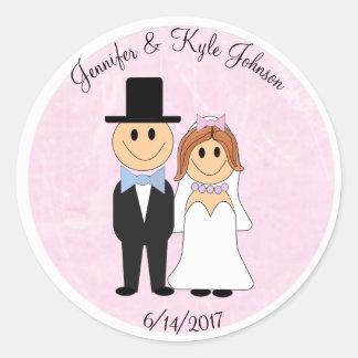 Date de mariage personnalisée par rose de couples sticker rond