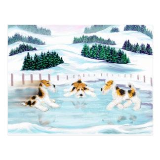 Date de patin de Fox Terrier de fil Carte Postale