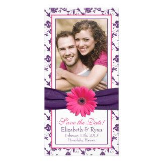 Date florale pourpre d'économies de mariage de rub photocartes personnalisées