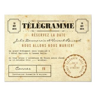 Date vintage de La de Télégramme Réservez Cartons D'invitation