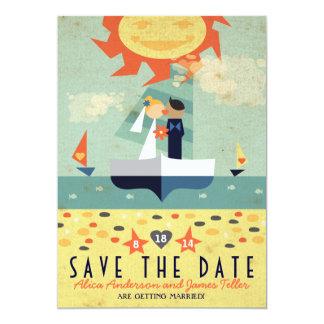 Date vintage d'économies de mariage de plage de carton d'invitation  12,7 cm x 17,78 cm