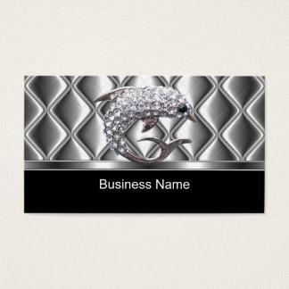 Dauphin argenté de diamant d'équilibre de tuile de cartes de visite