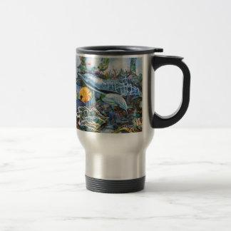 Dauphin coloré et poissons tropicaux mug de voyage