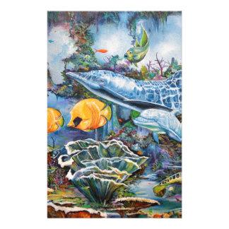 Dauphin coloré et poissons tropicaux papeterie