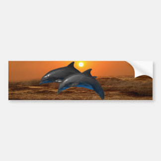 Dauphin de Bottlenose au coucher du soleil Autocollant De Voiture