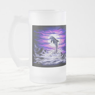Dauphin de clair de lune frosted glass beer mug