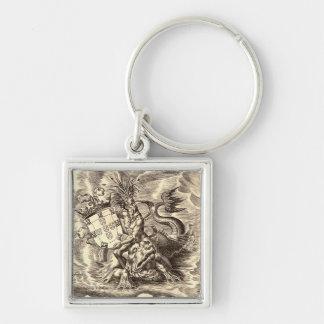 Dauphin d'équitation de Poseidon de carte du monde Porte-clé Carré Argenté