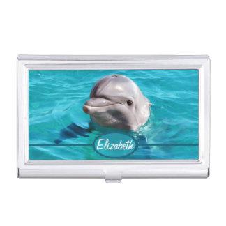 Dauphin en photo de l'eau bleue porte-cartes de visite