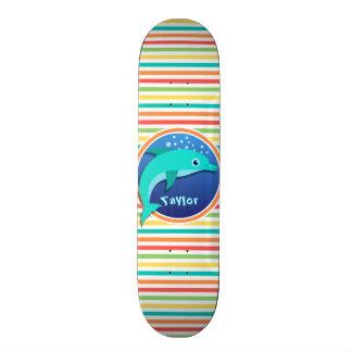 Dauphin Rayures lumineuses d arc-en-ciel Skateboard