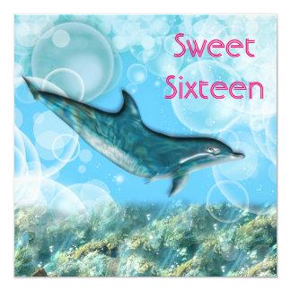 Dauphin tropical de fête d'anniversaire de plage carton d'invitation  13,33 cm