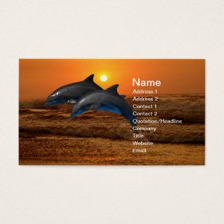 Dauphins au coucher du soleil cartes de visite