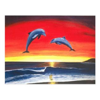 Dauphins dans les maîtres d'océan de la carte cartes postales