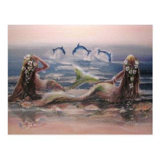 Dauphins et carte postale de sirènes