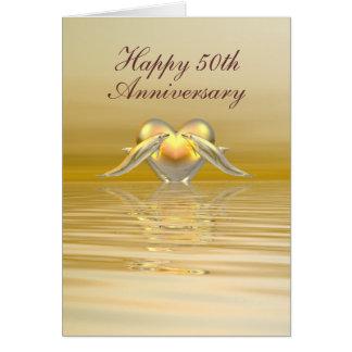 Dauphins et coeur d'or d'anniversaire carte de vœux