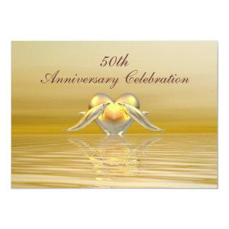 Dauphins et coeur d'or d'anniversaire carton d'invitation  12,7 cm x 17,78 cm