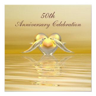 Dauphins et coeur d'or d'anniversaire carton d'invitation  13,33 cm