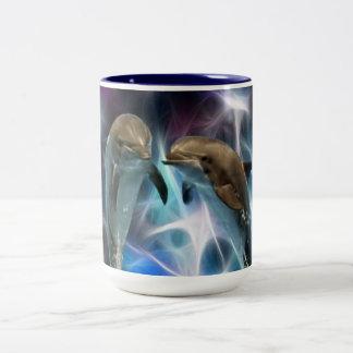 Dauphins et cristaux de fractale tasse