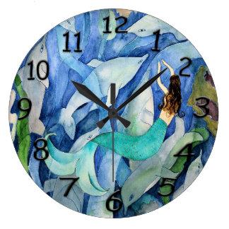 Dauphins et horloge murale de sirène