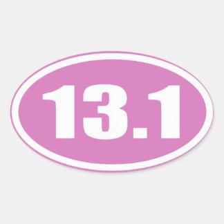 D'autocollant 13,1 rose de marathon de sticker ovale
