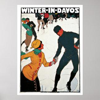 Davos, voyage vintage d'hiver de ski de la Suisse Poster