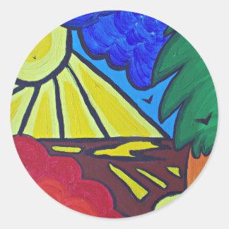 day.JPG nuageux Sticker Rond