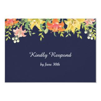 Daylilies d'été sur le bleu marine épousant RSVP Carton D'invitation 8,89 Cm X 12,70 Cm