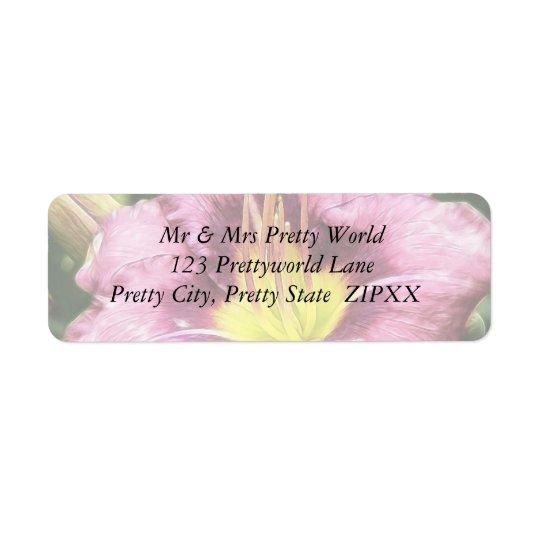 Daylily rose hérissé étiquettes d'adresse retour