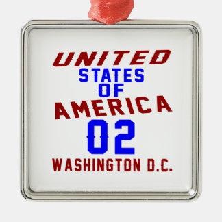 DC des Etats-Unis d'Amérique 02 Washington Ornement Carré Argenté