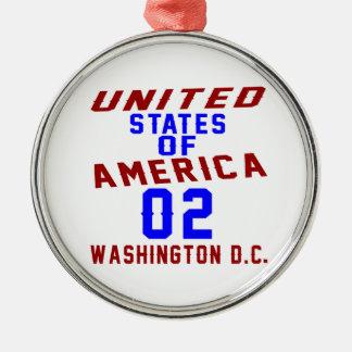 DC des Etats-Unis d'Amérique 02 Washington Ornement Rond Argenté