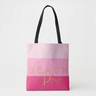 De 3 rayures de plage scintillement rose d'or svp sac