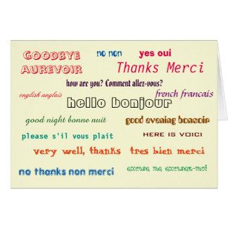 de base français-anglais de carte bilingue