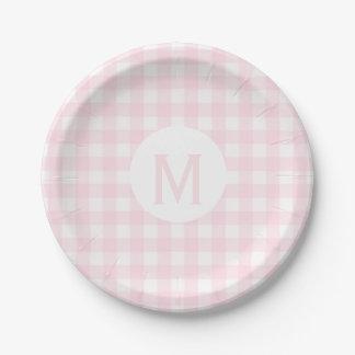 De base simples pâlissent - le monogramme rose de assiettes en papier