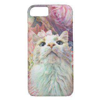 De chat de fleur coque iphone mignon de rose assez