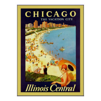 ~ de Chicago le voyage vintage de ~ de ville de Posters