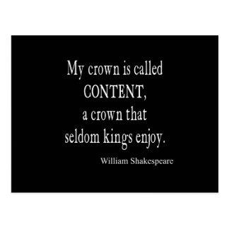 De couronne de contenu les Rois Enjoy Shakespeare Carte Postale