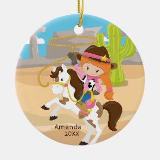De cow-girl ornement mignon de Noël de fille à