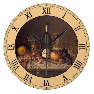 De cru toujours la vie peignant autour de grande horloge ronde