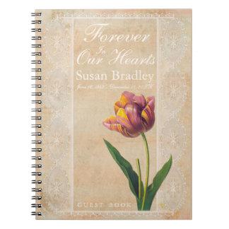 De dentelle de tulipes livre d'invité funèbre carnet à spirale