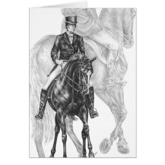 De dessin de passage de cheval de dressage demi carte de vœux