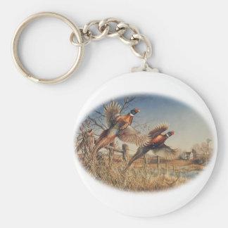 De faisans grande chasse en haut - à la ferme porte-clé rond