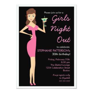 De filles de nuit fête d'anniversaire de diva de carton d'invitation  12,7 cm x 17,78 cm