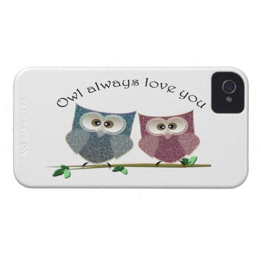 De hibou amour toujours art mignon vous, rose et b coque iPhone 4