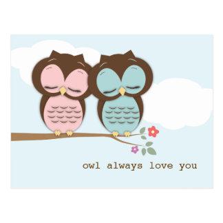 De hibou amour toujours vous carte postale douce d